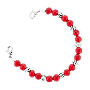 Red and Silver Bead Bracelet 6 inches