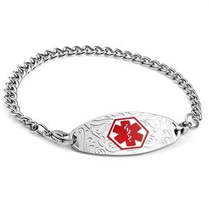 Red Designer Tag Medical ID Bracelet