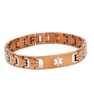 Rich Brown Plated Steel Medical Alert Bracelet for Men 8 - 9 inches