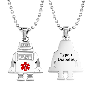 Robot Type One Diabetes Necklace