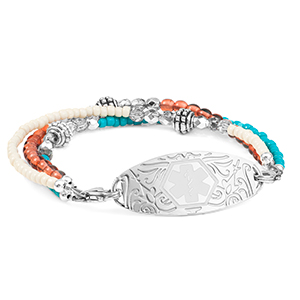Rose and Turquoise Triple Beaded Medical Alert Bracelet