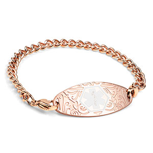 Rose Gold Floral Medical ID Bracelet