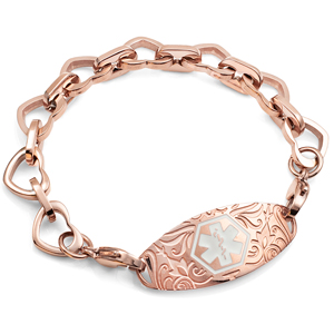 Rose Gold Heart Link Bracelet with Medical Tag