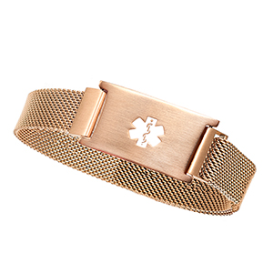 Rose Gold Stainless Magnetic Closure Medical Bracelet