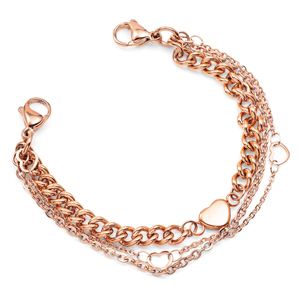 Rose Gold Triple Strand Bracelet for Medical Tags 6 inch