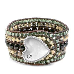 Dalmatian Jasper Heart Button Beaded Leather Cuff LG