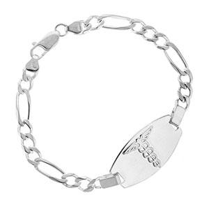 Sterling Silver Embossed Medical Bracelet