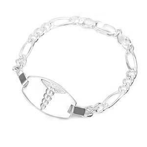 Sterling Silver Embossed Medical Alert Bracelet