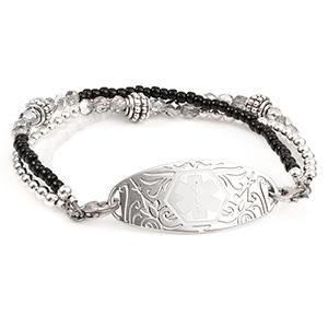Black and White Bead Medical Alert Bracelet