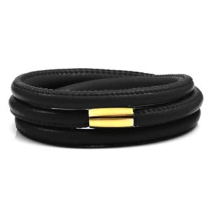 Echo Black Soft Leather Multi Wrap for Gold Charms