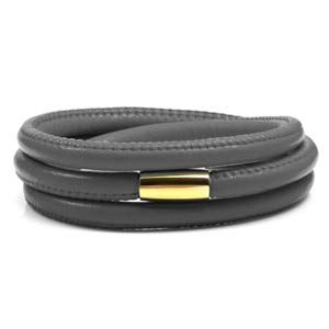 Echo Gray Soft Leather Multi Wrap for Gold Charms
