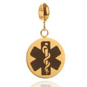 Black Medical Symbol Gold Plated Stainless Disk with Charm Holder