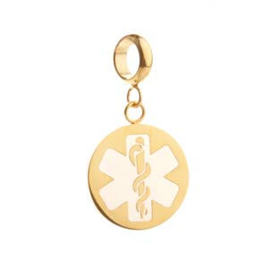 White Medical Symbol Gold Plated Stainless Disk with Charm Holder