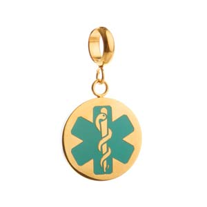 Turquoise and Gold Medical Alert Charm
