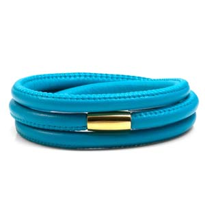 Echo Turquoise Soft Leather Multi Wrap for Gold Charms