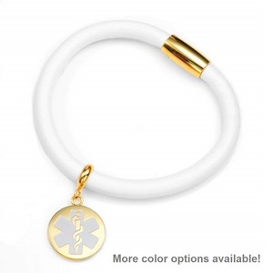 White and Gold Soft Leather Medical Alert Bracelets for Women