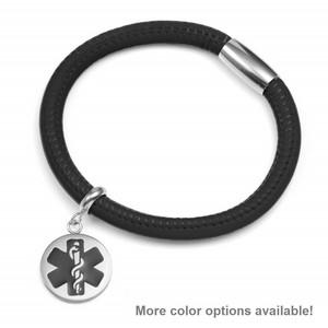 Black Soft Leather Medical Alert Bracelets for Women