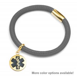 Gray Soft Leather Medical Alert Bracelets for Women