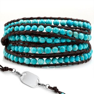 Turquoise Bead with Brown Leather Womens Multi Wrap Bracelet
