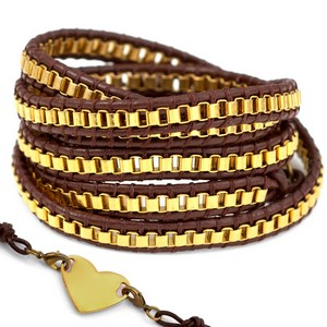 Gold Plated Chain Brown Leather Womens Multi Wrap Bracelet