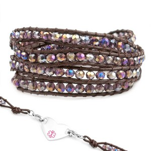 Purple Crystal & Leather Wrap Beaded Medical Alert Bracelets