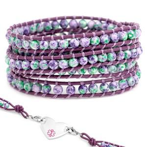Violet & Green Leather Wrap Beaded Medical Alert Bracelets