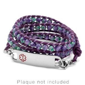 Violet & Green Beaded Leather Medical Alert Bracelet