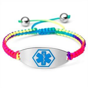 Tropic Macrame Satin Bracelet & Blue Medical Tag Adjustable