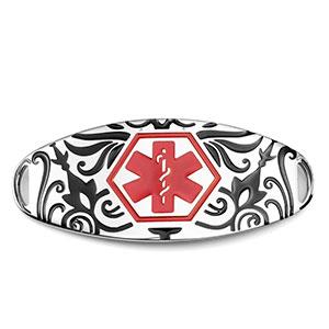 Designer Medical ID Tag Black Filled with Red Symbol