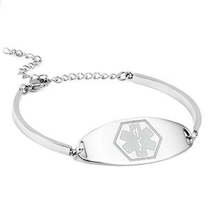 Shiny Sierra Medical ID Bracelet with White Symbol