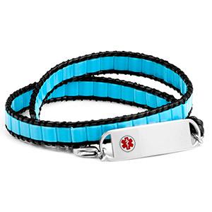 Pacific Blue Double Wrap Shell Medical Bracelet