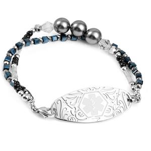 Black and Grey Pearl Stretch Medical Bead Bracelet