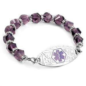Shimmering Purple Bead Stretch Medical ID Bracelet