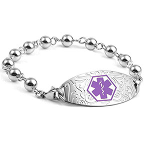 Silver Bead Medical Bracelet and Designer Purple Tag