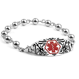 Silver Bead Medical Bracelet with Black Flora Tag