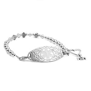 Silver Beaded Medical Bracelet for Mom