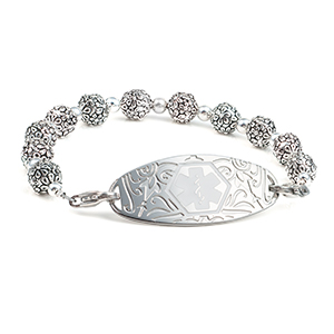 Silver Flower Blossom Womens Medical Beaded Bracelet