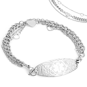 Silver Medical Bracelet with Heart Charms