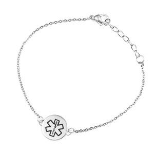 Silver Medical ID Bracelet w 3/4 inch Charm