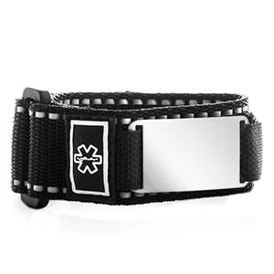 Black Engravable Sportstrap Medical Alert Bracelet