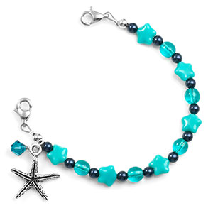 Seaside Starfish Beaded Medical Alert Bracelet for ID Tags