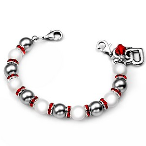 Hearts Bond Charm Red Trim Beaded Medical Bracelets