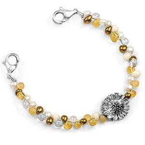 Golden Honey Sunflower Beaded Medical Alert Bracelet for ID Tags