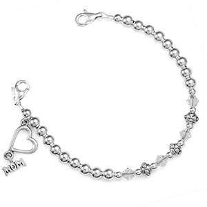 Silver Charms Beaded Medical Alert Bracelet for ID Tag