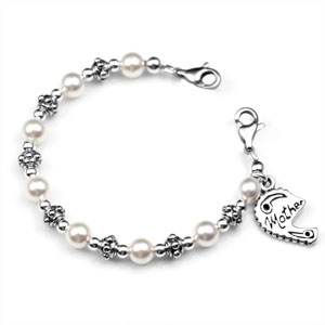 Five Inch Mother Split Heart Pearl Bracelet for Medical Tag
