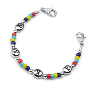 Autism Awareness Ribbon Beaded Autism Bracelet 5 - 6 In (No Tag)