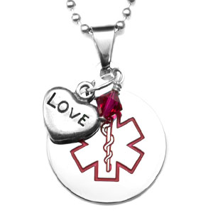 LOVE Heart & Crystal Charms Medical Stainless Pendant 24 In