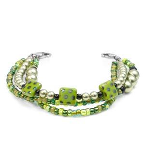 Spring Green Triple Strand Beaded Bracelet 5 In (No Tag)