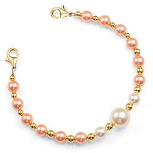 Peach & Pearl Beaded Medical Alert Bracelets for ID Tag