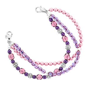 Baroness Purple Beaded Medical Bracelet for ID Tag